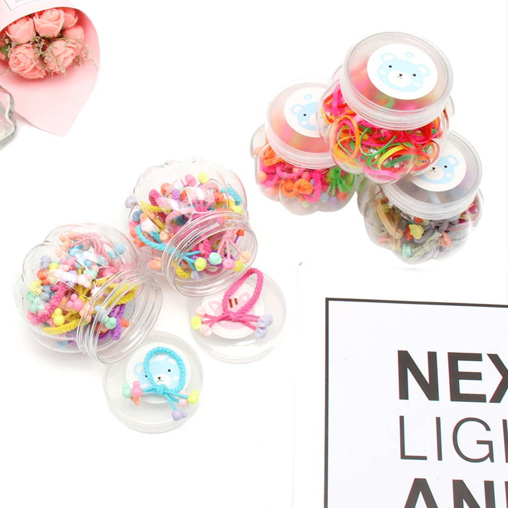 15 Pcs/Box Rubber Bands for Girls Colorful Gum Hair Scrunchis with Geometric Patches Kids Elastic Ties Accessories
