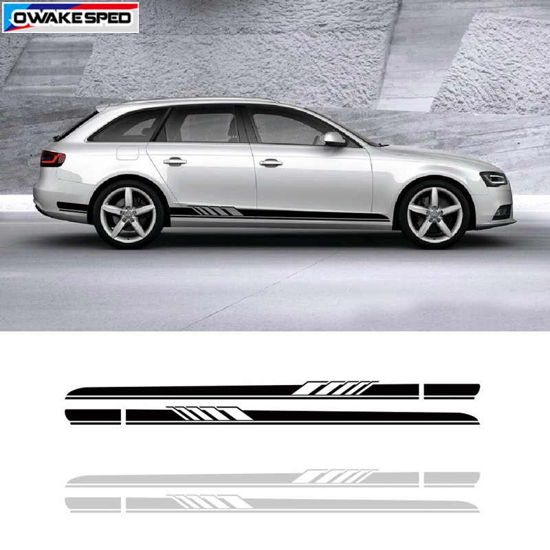 Racing Sport Stripes Car Stickers Auto Door Side Decals Tail Bumper Exterior Accessories For Audi A3 A4 A5 A6 Q3 Q5 RS3 RS4 RS5