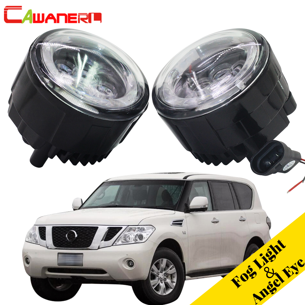 Cawanerl 2 X Car LED Fog Light Angel Eye Daytime Running Light DRL For Nissan Patrol 3 III Y62 Closed Off-Road Vehicle 2010-2015 2pcs for car styling fog lights nissan x trail t31 closed off road vehicle 2007 2014 halogen lamps 26150 8990b