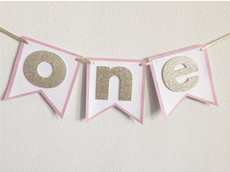 Hot Sale Pink Gold Sparkle ONE 1 Girl Highchair Bunting 1st Birthday Party Banner Baby First Decorations 2nd 3rd In Banners