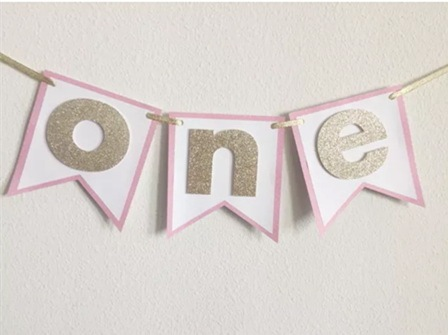 Hot Sale Pink Gold Sparkle ONE 1 Girl Highchair Bunting 1st Birthday Party Banner Baby First Decorations 2nd 3rd