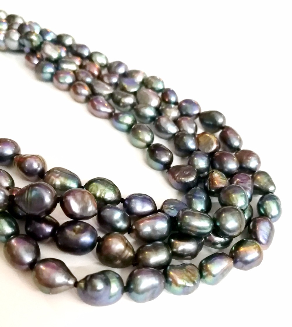 One Strands 9-10mm bright black gray brown green mixed baroque pearl natural freshwater pearl loose beads 35cm / 14.5inch DIY