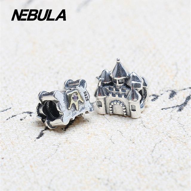 Auténtica Plata de Ley 925 de Oro Placa de Castillo corona Encanta Granos Con Clear CZ Adapta Pandora Pulsera DIY Jewelry Making