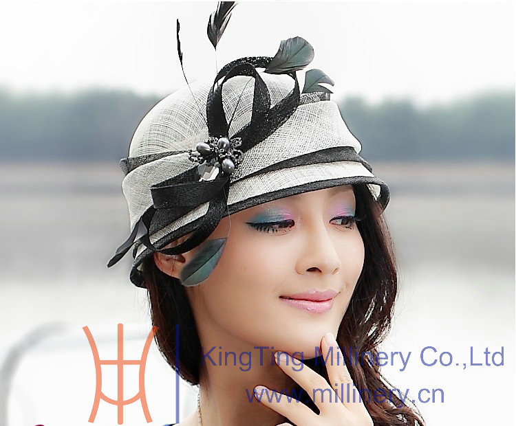 Free Shipping Fashion and New Elegant Women Summer Hat Sinamay Hat Formal Dress White With Black
