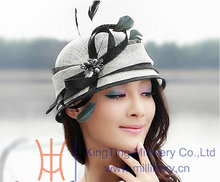 Free Shipping Fashion and New Elegant Women Summer Hat Sinamay Hat Formal Dress White With Black Color Bow Ribbon With Feathers