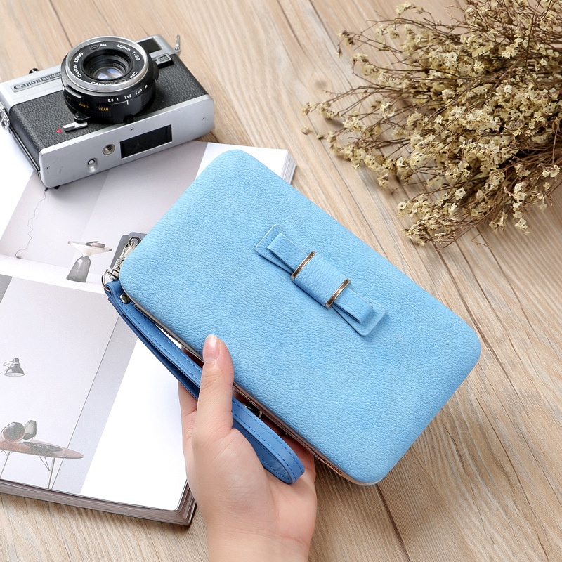 Cyboris New Fashion Women Wallet Korea Style Nubuck Leather Box Shape Hand Strap Women Handbag Coins Purse ID & Card Holders