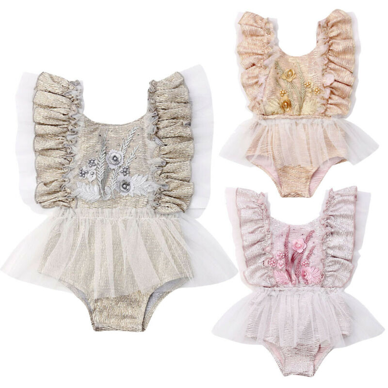 Newborn Infant Baby Girls Outfit Clothes Bodysuits Party Wedding Kids Baby Costumes Princess Floral Chiffon Jumpsuit Playsuit(China)