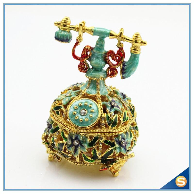 Vintage Telephone Handmade Jeweled Trinket Box