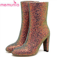 MEMUNIA Plus Size 34 46 Sequined Cloth Ankle Boots Fashion Shoes Sexy Lady High Heels Boots