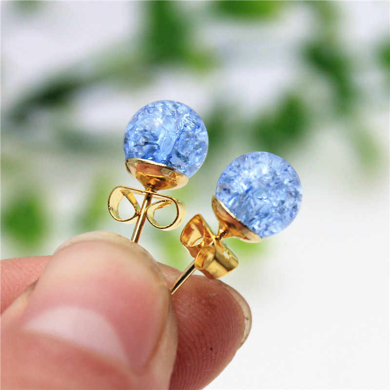 new fashion brand jewery elegant double imitation pearl stud earrings for women cute opal beads ball earrings free shipping