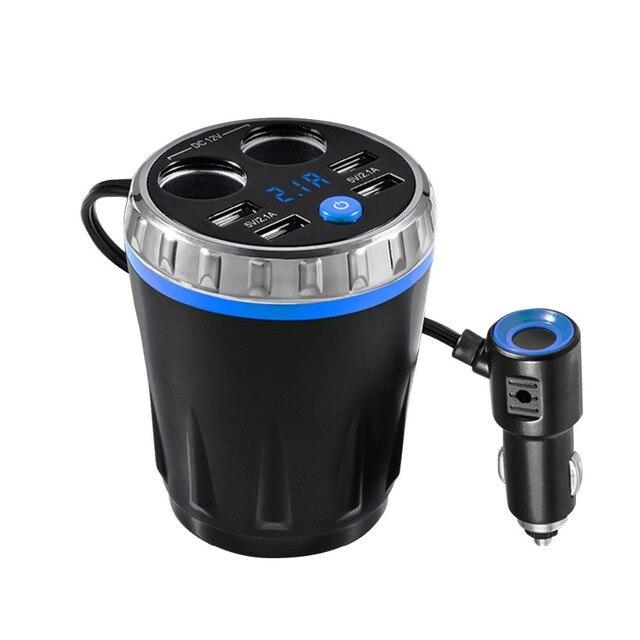 Powstro רכב טעינה כוס 4 USB יציאת 5 v 2.1A אינטליגנטי טעינת LED תצוגה דיגיטלית כוח מתאם לרכב טלפון מטען עבור טלפון