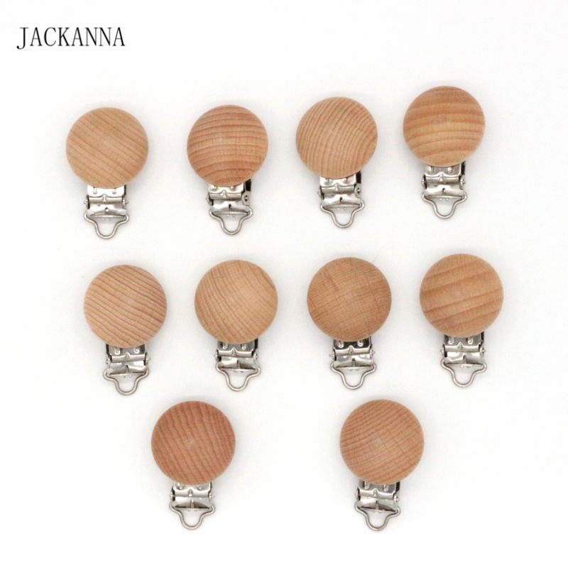 50PCS Natural Beech Wood Pacifier Holder Round Dummy Clip DIY Infant Soother Chain Accessories BPA FREE Baby Pacifier Clips