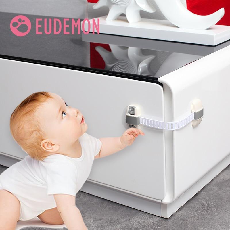 EUDEMON 6pcs Cabinet Lock Refrigerator Lock Drawers Wardrobe Todder Kids Baby Safety Plastic ABS PE Toilet Refrigerator Lock