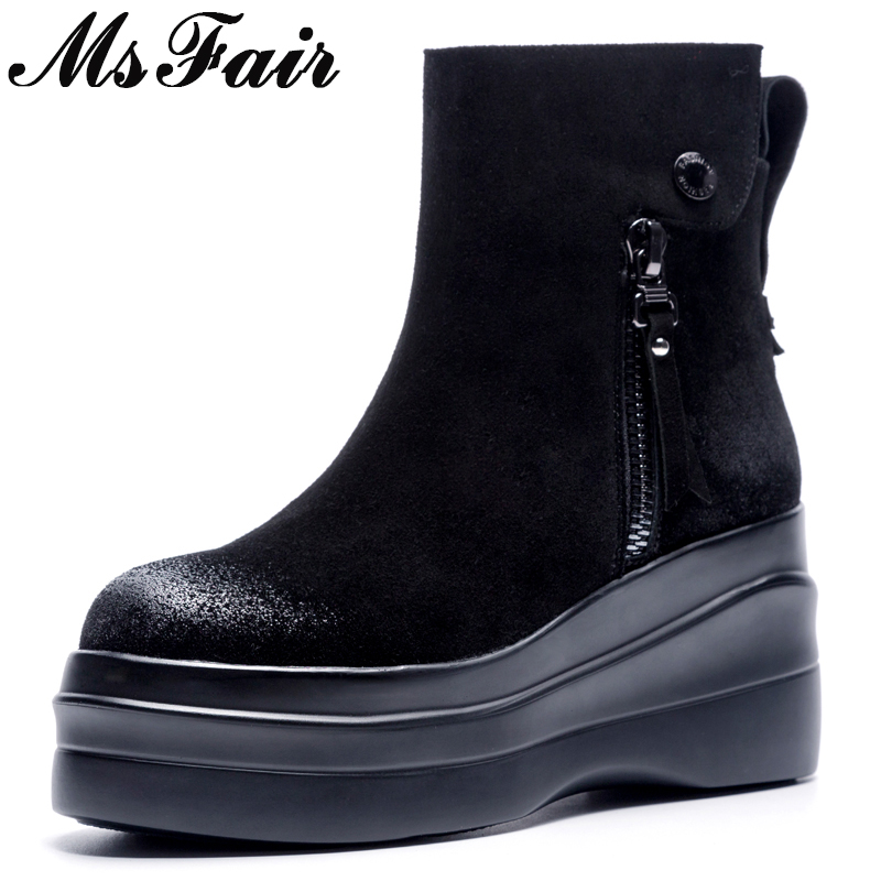 MsFair Round Toe Thick Bottom Women Boots Fashion Metal Zipper Buckle Ankle Boots Shoes Woman Elegant Black Boots Women Shoes autumn winter fashion women boots zipper buckle round toe flock women motorcycle boots women shoes thick heel ankle boots