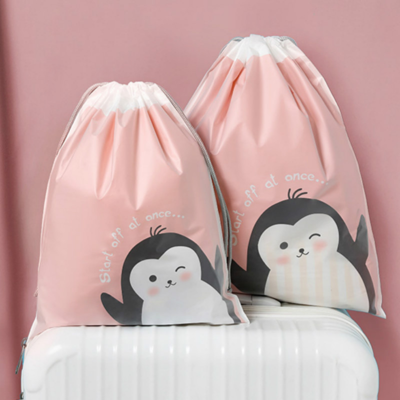 Cartoon Double Layer Waterproof Drawstring Bag Travel Pouch Storage Clothes High Quality Makeup Package Bag