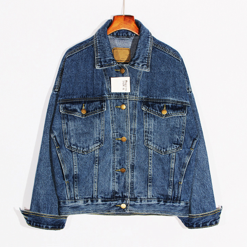 2018 Fashion Women BF Demin Jackets Blue Long Sleeve New Autumn Thick Loose Casual Jeans Coats