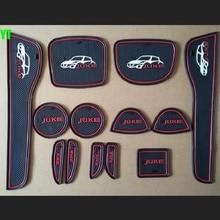 Non-slip Interior door gate slot pad cup mat anti slip pad for NISSAN juke 2013-2016,13pcs/lot,auto accessories