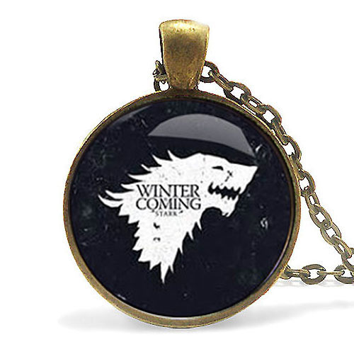 wolf chain US drama Game of Thrones Necklace Song of Ice and Fire pendant 1pcs/lot bronze or silver Glass charm necklace jewelry