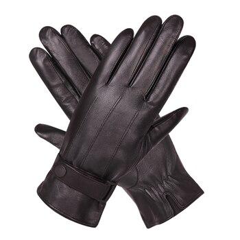 Guantes de conducción de piel de oveja de invierno más terciopelo grueso caliente a prueba de viento pantalla táctil guantes de cuero negro M18005-5