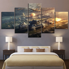 5 Piece World of Tanks Game Poster Paintings HD Fantasy Art Picture and Aircraft Military Canvas Wall