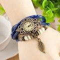 Cay folha pulseira de tecer couro genebra relógios de quartzo da forma das mulheres do vintage pulseira vestido relógios feminino relogio feminino