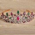 Blucome acessórios para o cabelo tiaras para noivas de casamento turca arcylic cristais vermelhos do vintage flor floral pedaço cabeça coroa hairwear