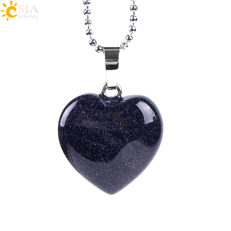 CSJA Natural Gem Stone Love Heart Chain Necklace & Pendant for Lover Reiki Heali