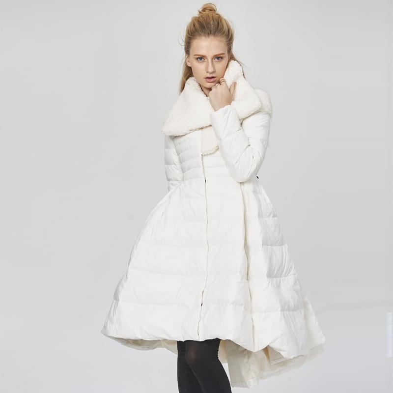 YNZZU Elegant Skirt Type White Black Women Down Jacket 2018 Winter Long Down Coat Thick Lamb Fur Collar Warm Female Jacket O699