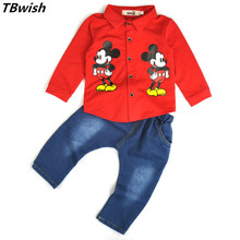 TBwish 2016  mickey boys clothing sets kids clothes baby girl and boy long sleeve cotton + cowboy pants sets  spring autumn suit