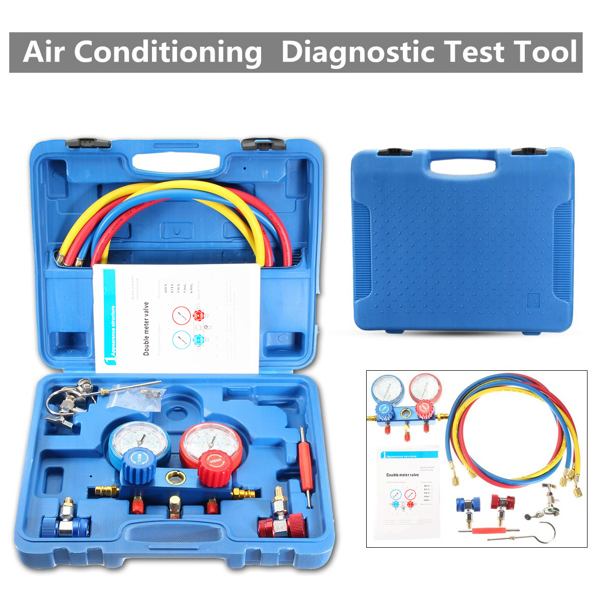 Air Conditioning Pressure Manifold Gauge Hose Kit For R134A R22 Refrigerant Pressure gauge car air condition refrigerant gaug car air conditioning refrigeration pressure test gauge r134a at2217