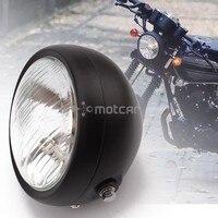 Motocykl reflektor czarny Metal Retro halogenowe przednie światła 12 V pasuje do CG125 GN125 CB CL Yamaha Suzuki Cafe Racer bobber niestandardowe na