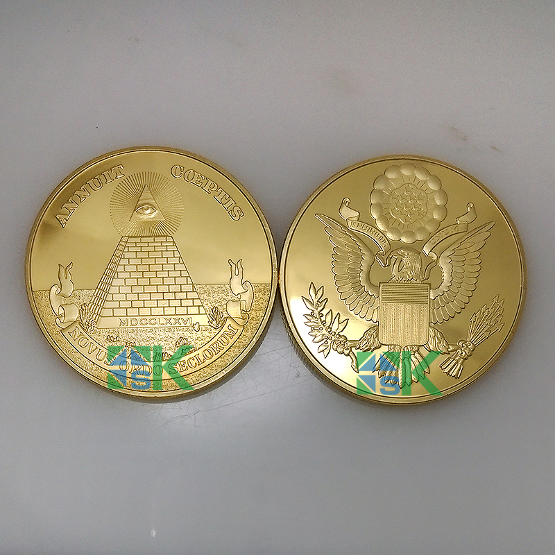 1pcs Free shipping Freemasonry coins Masonic series with all-seeing eye US Dollar Masonic coin with Pyramid gold plated coin