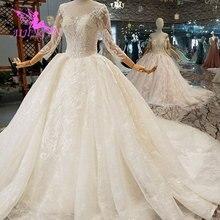 AIJINGYU ราคาไม่แพงแต่งงานชุดด้วยสี Sparkly Sequins ที่ถอดออกได้หรูหรายาวรถไฟชุดซาติน Ruffle Trim