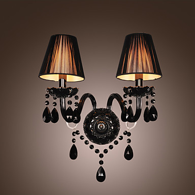crystal wall lamps black crystal led wall lights with 2 lights in fabric shade wall sconce