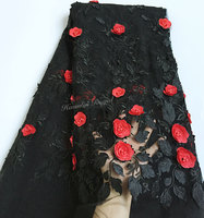 Black Red Soft French Lace Tulle Mesh Sewing Fabric With 3D Appliques Beads 5 Yards Per