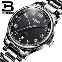 חדש BINGER מותג יוקרה אוטומטי מכאני גברים שעון ספיר שעונים זכר צבאי Relogio עמיד למים גברים של שעונים BG 0379 2