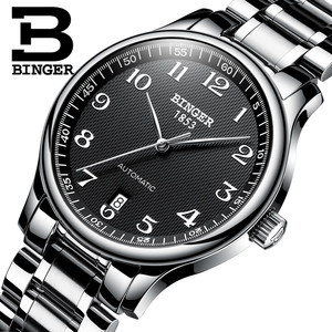 Image 1 - New BINGER Brand Luxury Automatic Mechanical Men Watch Sapphire Watches Male Military Relogio Waterproof Mens Watches BG 0379 2