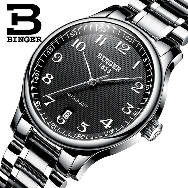 New BINGER Brand Luxury Automatic Mechanical Men Watch Sapphire Watches Male Military Relogio Waterproof Mens Watches BG 0379 2