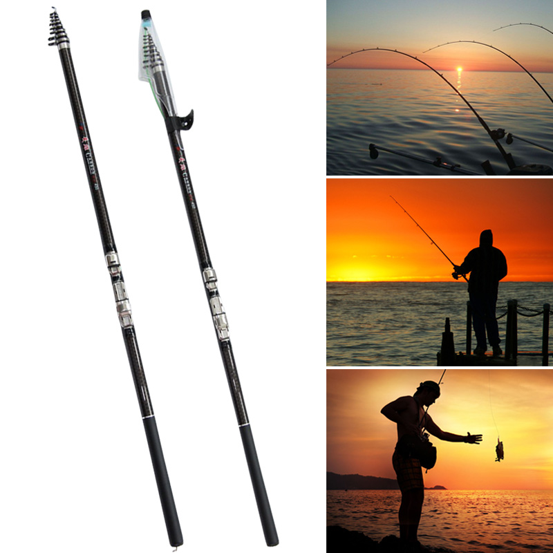 2.7//3.6//4.5//5.4//6.3m Carbon Telescopic Spinning Sea Fish Rod Pole Fish Tackle