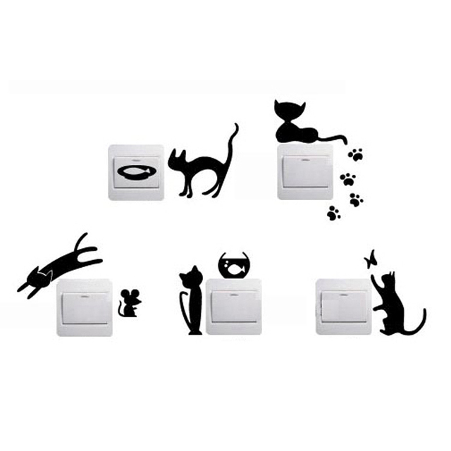 1 Set of 5pcs Removable Cute Lovely Cat Switch Wall Sticker Vinyl Decal Home Decor Cats are playing Switch animals decoration 1