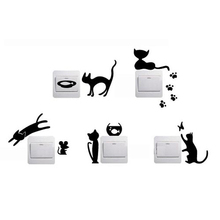 1 Set of 5pcs Removable Cute Lovely Cat Switch Wall Sticker Vinyl Decal Home Decor Cats are playing animals decoration