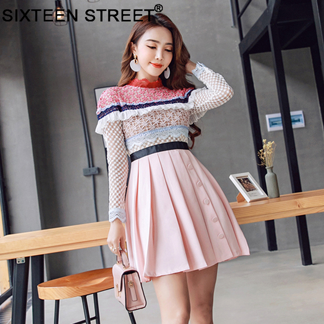 a0921af146ea New fashion hollow out lace dress women long sleeve spring style mini pink  dress 2018 autumn