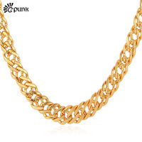 Men Link Chain Necklace Gold Men Jewelry With 18K Stamp Gold Platinum Rose Gold Plated 6