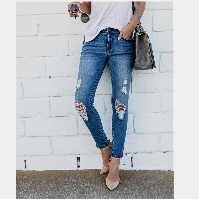 Summer new hot stretch ladies jeans Slim high waist casual jeans hole female jeans retro feet pants female pencil jeans in Jeans from Women 39 s Clothing