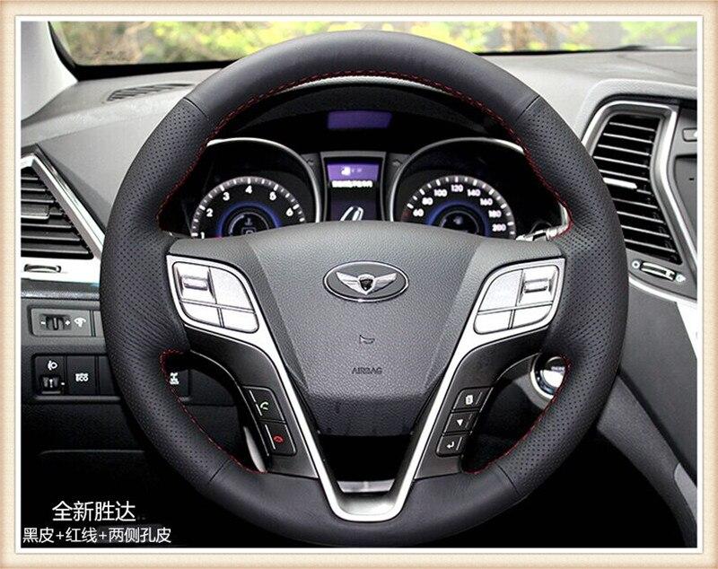 HOT SALE DIY car handmade sewing Steering wheel cover Fit for Hyundai Santa Fe