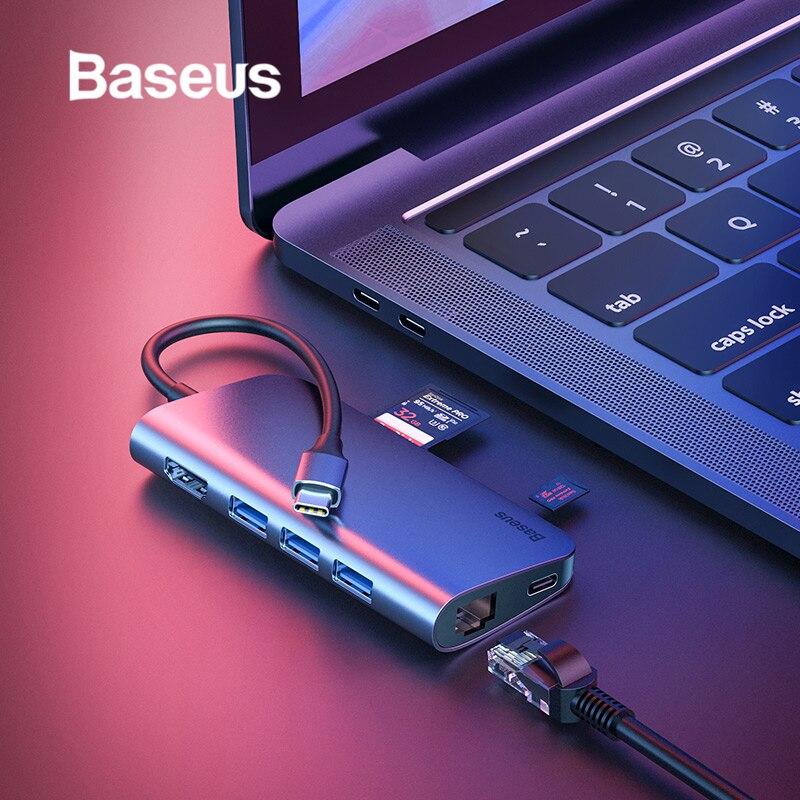 Baseus 8in1 USB Type C 3.1 HUB for Type C to 3 USB 3.0 / 4K HDMI / RJ45 Ethernet / Micro SD TF Card Reader / USB Type C OTG HUB iphone xs 財布