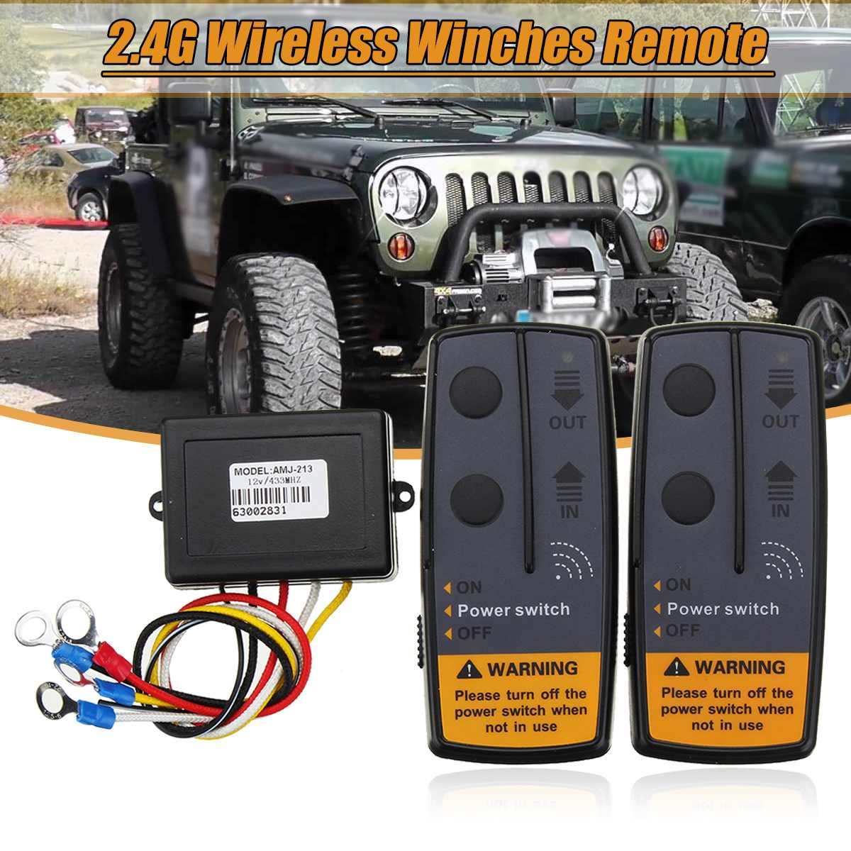 Wireless Cordless Winch Control Remote for Jeep Twin Handset 12 Volt 12V 50ft