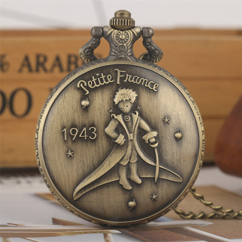 Bronze The Little Prince Theme Quartz Pocket Watch Fob Necklace Watches Retro Exquisite Pendant Clock Birthday Gifts For Kids