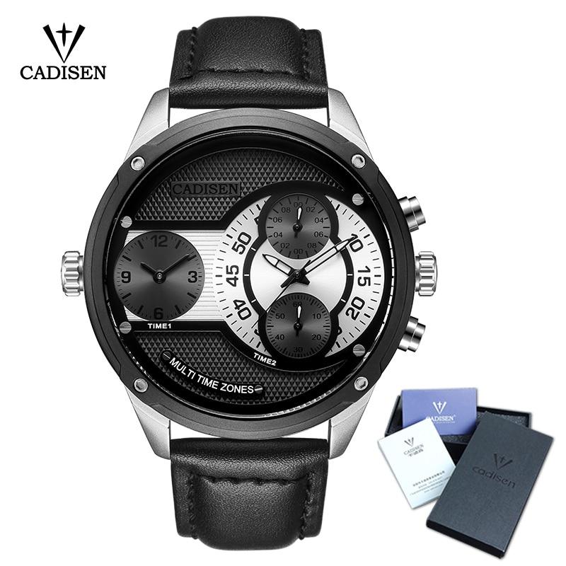где купить 2018 New Luxury Brand CADISEN Men Watch Quartz Watches Big Design Dual Time Zone Casual Military Waterproof relogio masculino по лучшей цене