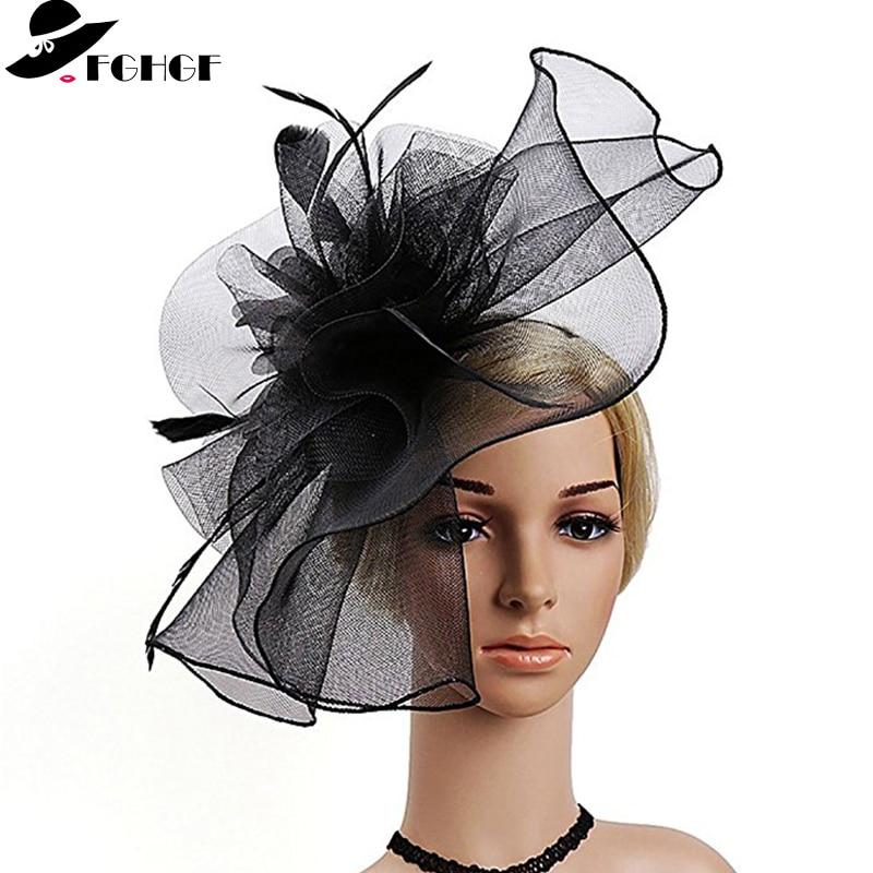 High Quality Women Mesh Feather Fascinator Hats Ladies Kenucky Derby Wedding Cocktail Party Hats Elegant Headband Hairband